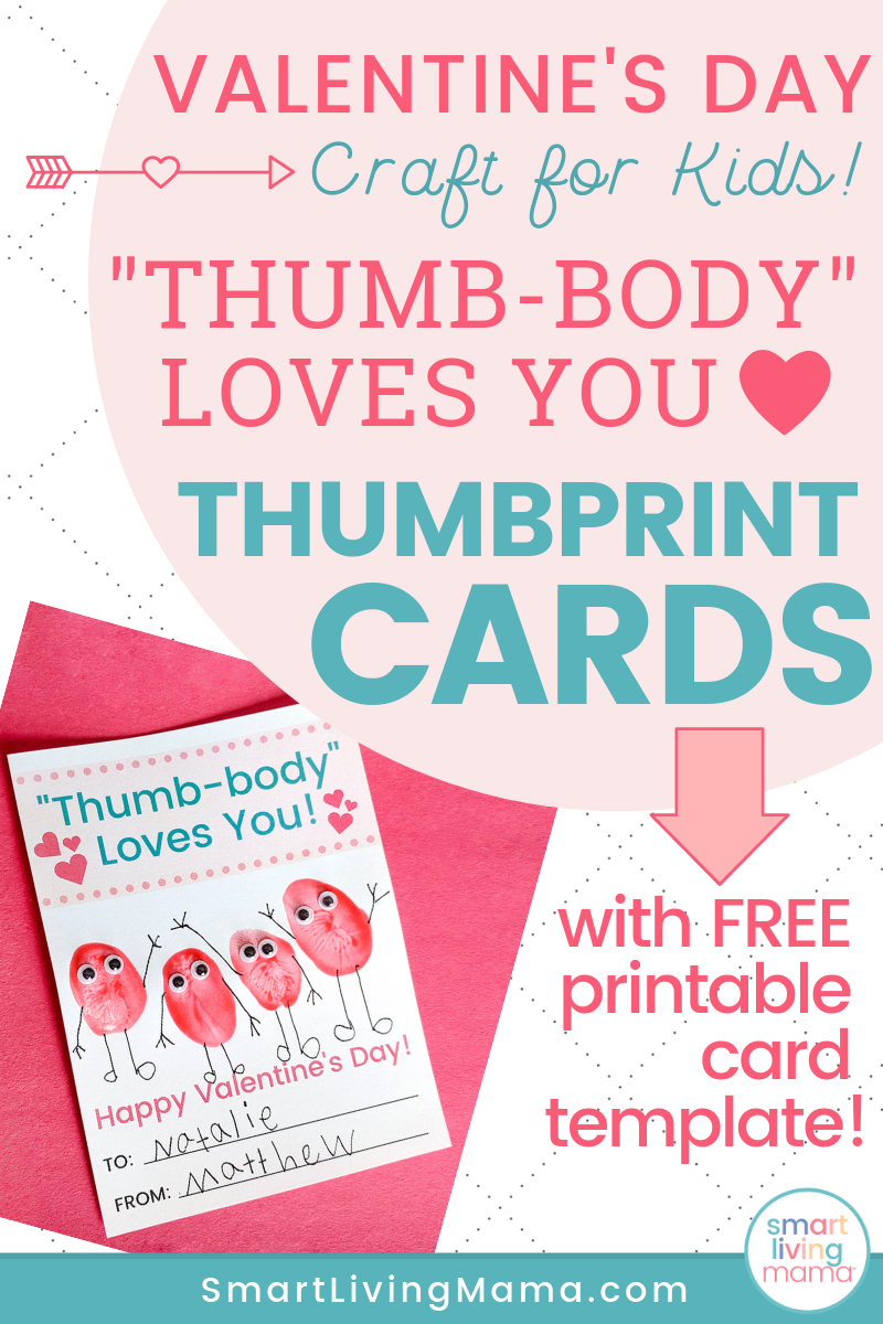 Smart Living Mama - Pinterest Pin - Valentine's Day Thumbprint Card Craft for Kids