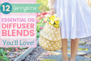 Smart Living Mama Blog Post Featured Image_ Springtime Essential Oil Blends_Woman in white dress holding a basket of flowers