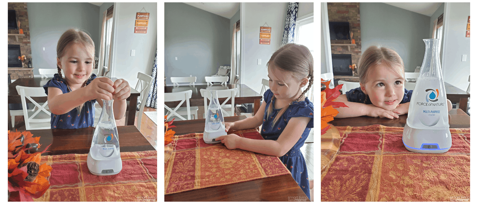 a young girl using Force of Nature cleaning solution in the kitchen
